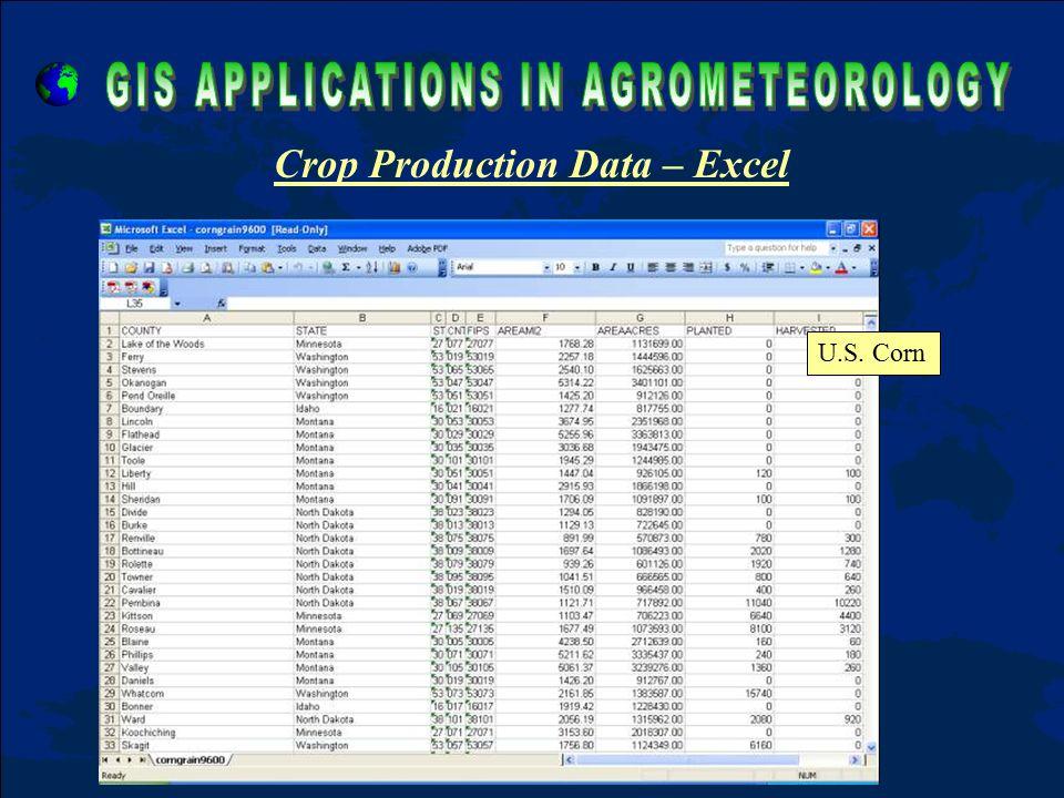 Crop Production Data – Excel U.S. Corn