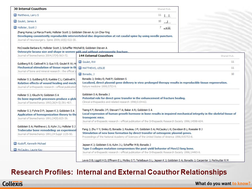 Research Profiles: Internal and External Coauthor Relationships