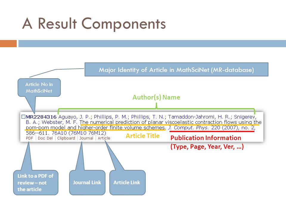A Result Components Article No in MathSciNet Author(s) Name Article Title Publication Information (Type, Page, Year, Ver, …) Link to a PDF of review –
