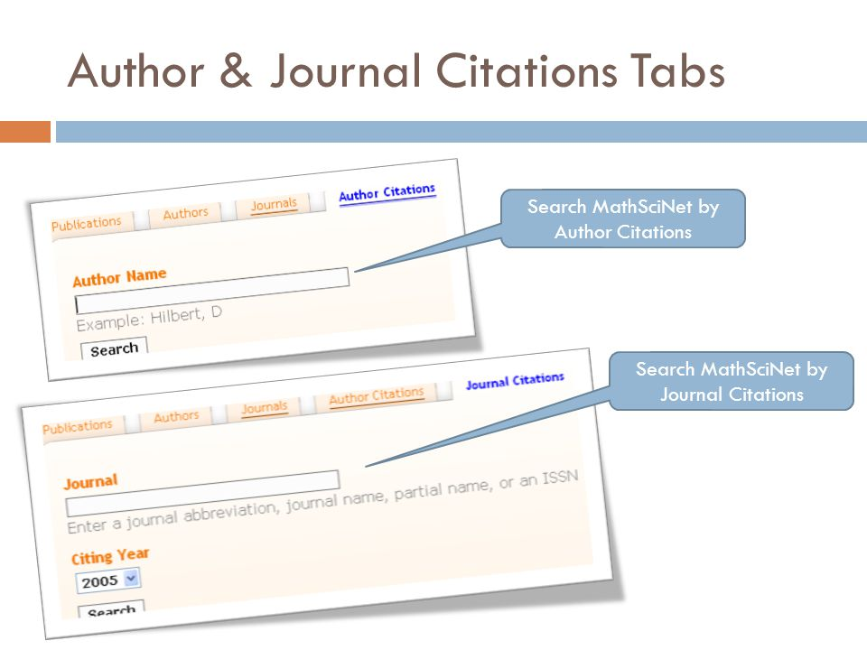 Author & Journal Citations Tabs Search MathSciNet by Author Citations Search MathSciNet by Journal Citations