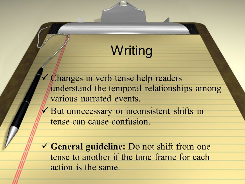 Writing Changes in verb tense help readers understand the temporal relationships among various narrated events.