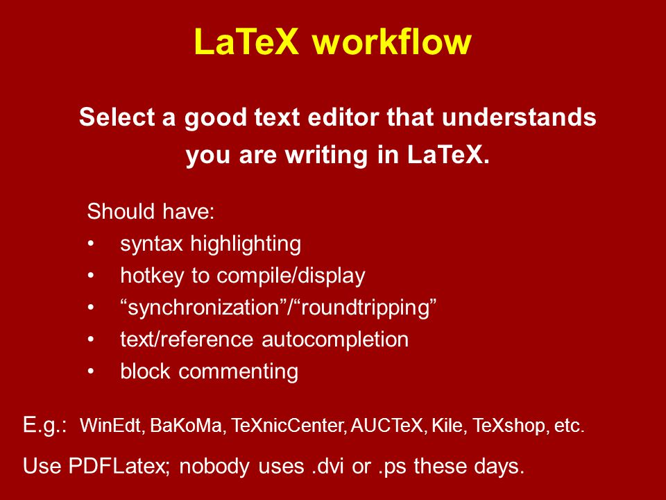LaTeX — my top peeves DON'TDO \begin{eqnarray} y &=& (x+1)^2 \\ &=& x^2+2x+1 \end{eqnarray} \begin{align} y &= (x+1)^2 \\ &= x^2+2x+1 \end{align} If A is a matrix, then If $A$ is a matrix, then Lemma \ref{lem:big} is due to Blum \cite{Blu99} Lemma~\ref{lem:big} is due to Blum~\cite{Blu99} assuming- as we do – that the Birch-Swinnerton-Dyer Conjecture holds assuming---as we do---that the Birch--Swinnerton-Dyer Conjecture holds