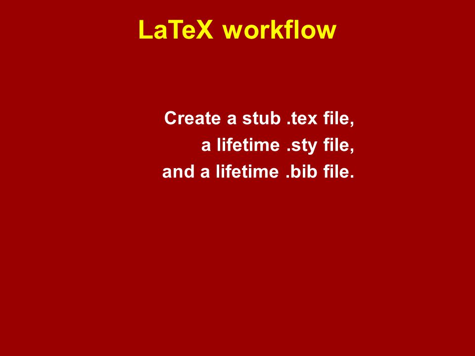 LaTeX — stub.tex file example \documentclass[11pt]{article} \usepackage{odonnell} \begin{document} \title{} \author{Ryan O Donnell\thanks{odonnell@cs.cmu.edu}} \date{\today} \maketitle %\begin{abstract} %\end{abstract} %\section{} %\bibliographystyle{alpha} %\bibliography{odonnell} \end{document} refers to odonnell.sty, my lifetime.sty file refers to odonnell.bib, my lifetime.bib file
