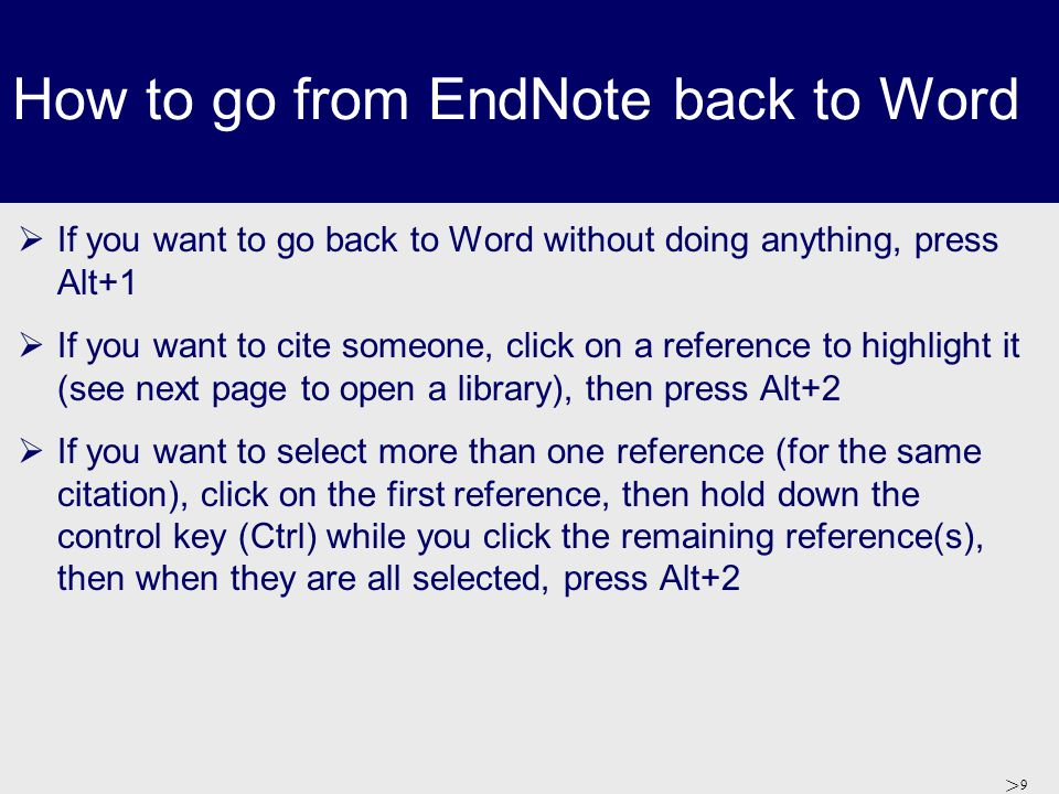 > 10 How to start a new Library  If you want to start a new EndNote library, Go to Endnote, click on 'Create a new EndNote library' and click OK  Give your new library a name  Add your references (see later)