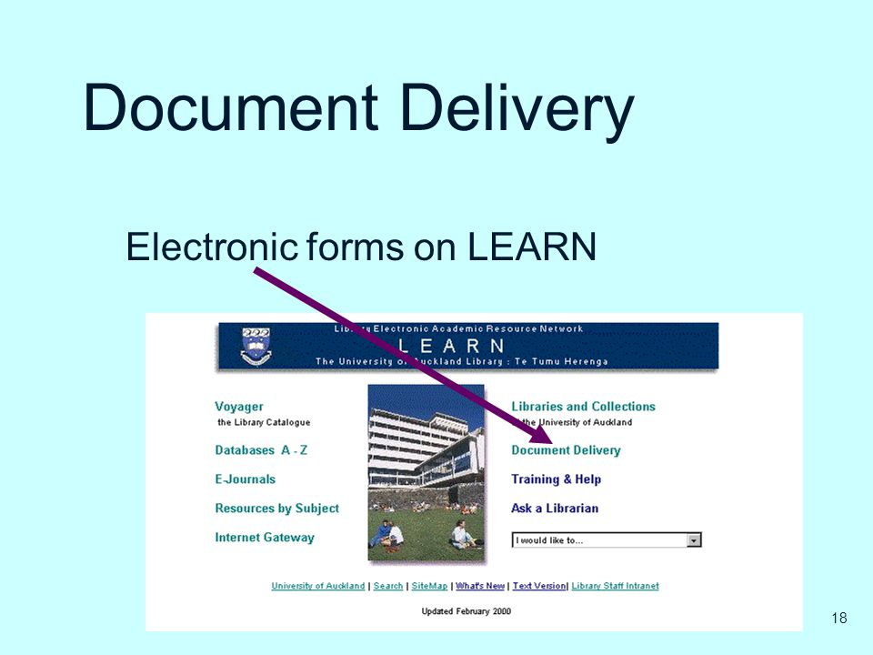 Document Delivery Electronic forms on LEARN 18