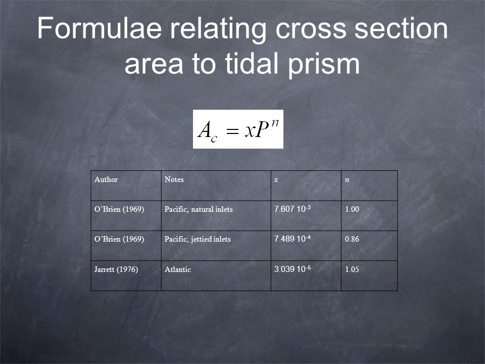 Formulae relating cross section area to tidal prism AuthorNotesxn O'Brien (1969)Pacific, natural inlets 7.607 10 -3 1.00 O'Brien (1969)Pacific, jettie