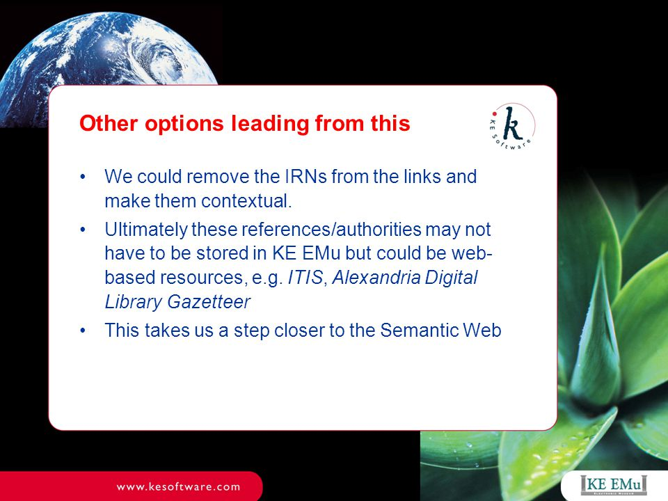 Other options leading from this We could remove the IRNs from the links and make them contextual.