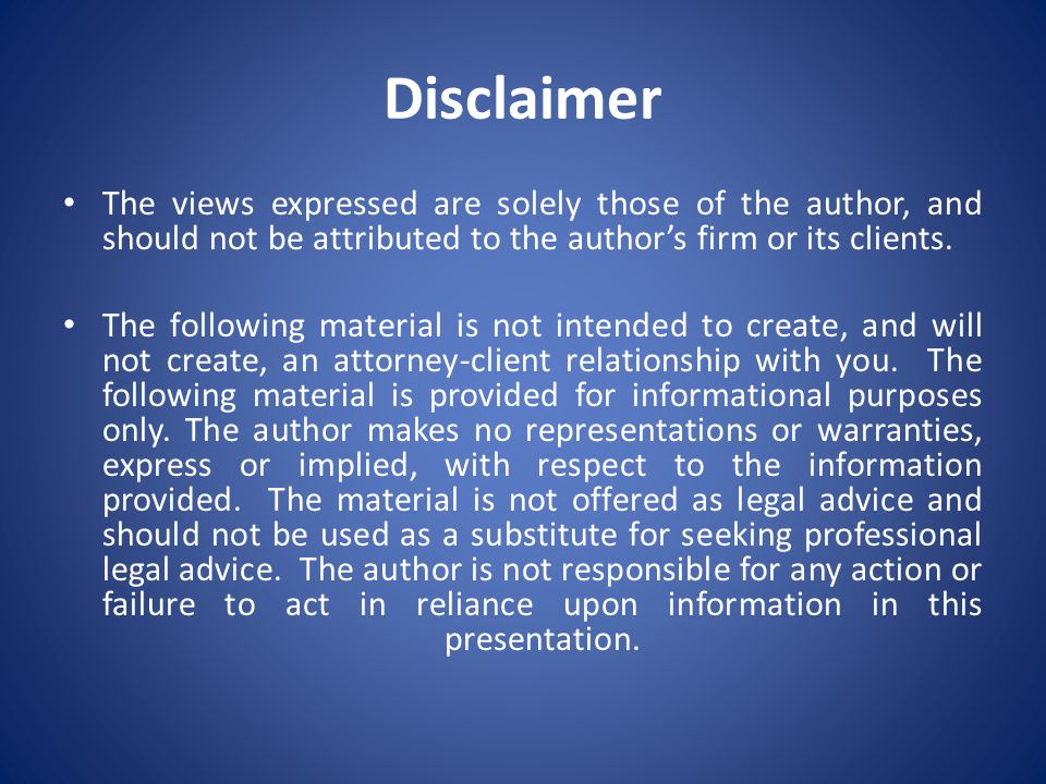 Disclaimer The views expressed are solely those of the author, and should not be attributed to the author's firm or its clients.