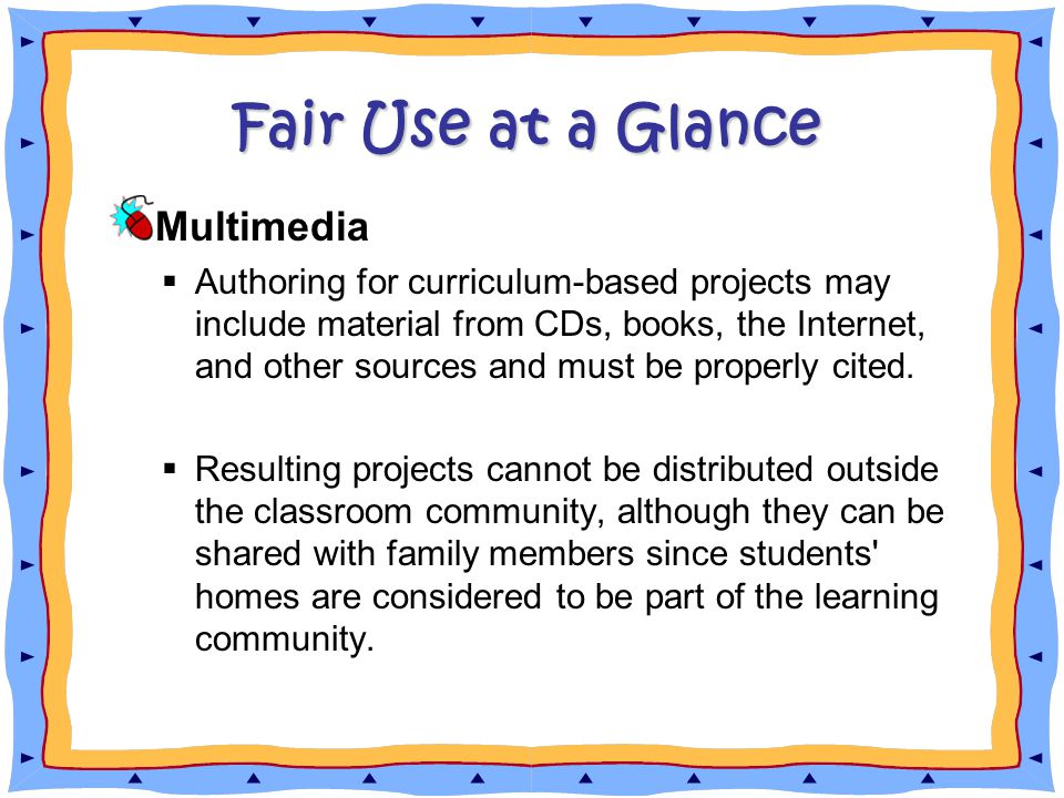 Fair Use at a Glance Multimedia  Authoring for curriculum-based projects may include material from CDs, books, the Internet, and other sources and must be properly cited.