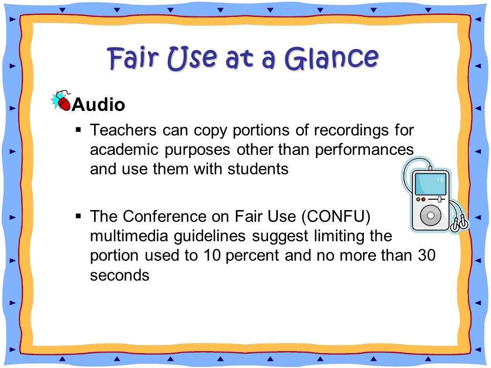 Fair Use at a Glance Audio  Teachers can copy portions of recordings for academic purposes other than performances and use them with students  The Conference on Fair Use (CONFU) multimedia guidelines suggest limiting the portion used to 10 percent and no more than 30 seconds