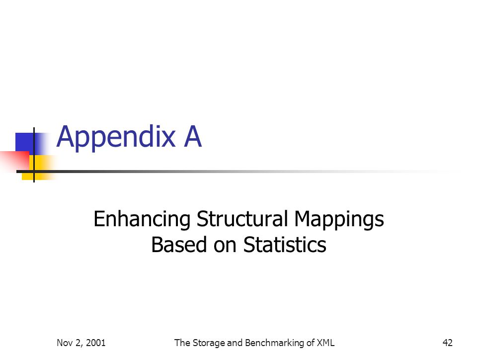 Nov 2, 2001The Storage and Benchmarking of XML42 Appendix A Enhancing Structural Mappings Based on Statistics