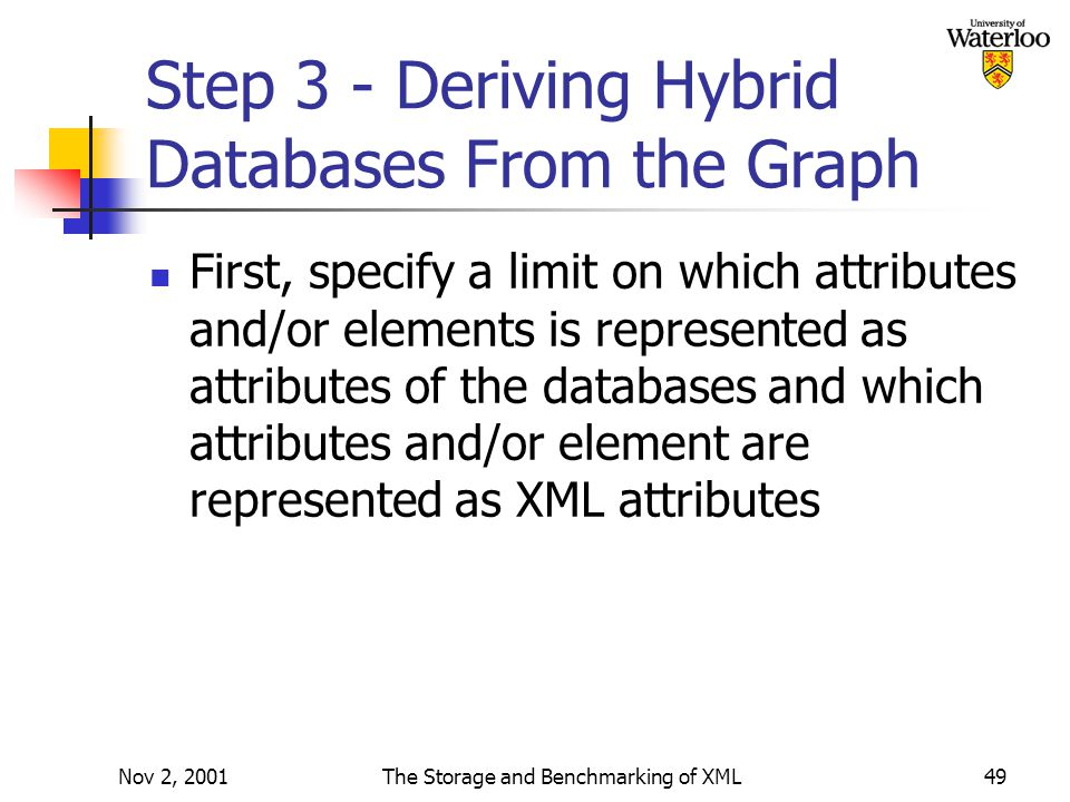 Nov 2, 2001The Storage and Benchmarking of XML49 Step 3 - Deriving Hybrid Databases From the Graph First, specify a limit on which attributes and/or elements is represented as attributes of the databases and which attributes and/or element are represented as XML attributes