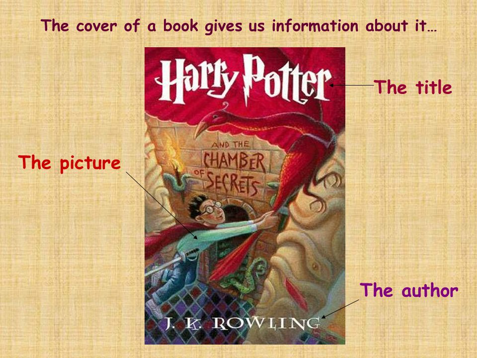 The cover of a book gives us information about it… The picture The title The author