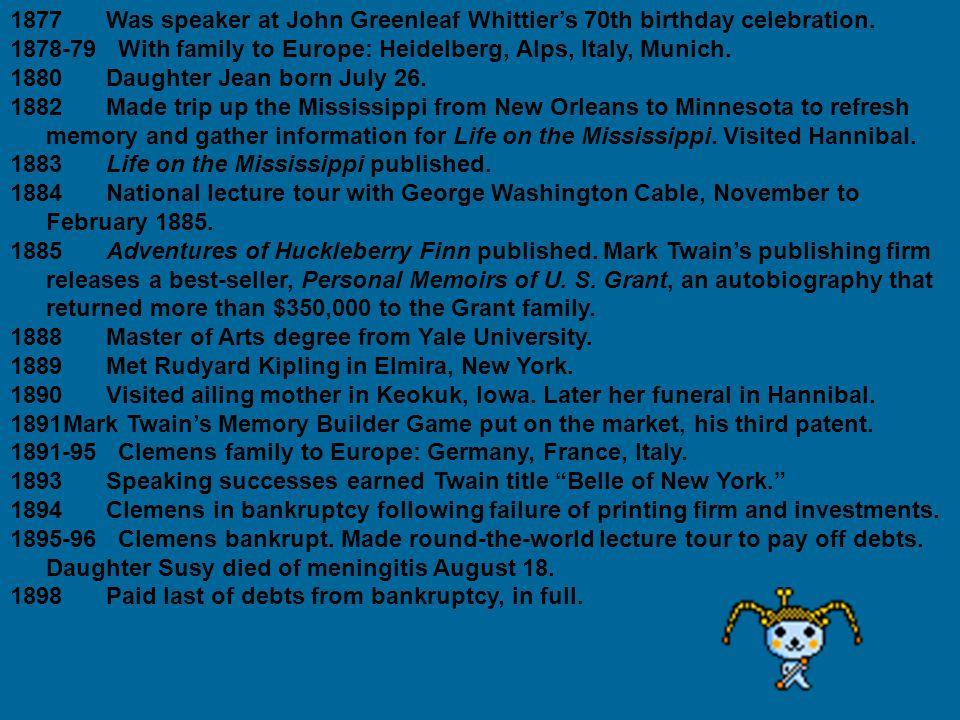 1877Was speaker at John Greenleaf Whittier's 70th birthday celebration.