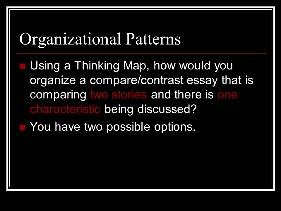 Organizational Patterns Using a Thinking Map, how would you organize a compare/contrast essay that is comparing two stories and there is one characteristic being discussed.