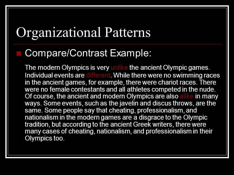 Organizational Patterns Compare/Contrast Example: The modern Olympics is very unlike the ancient Olympic games.