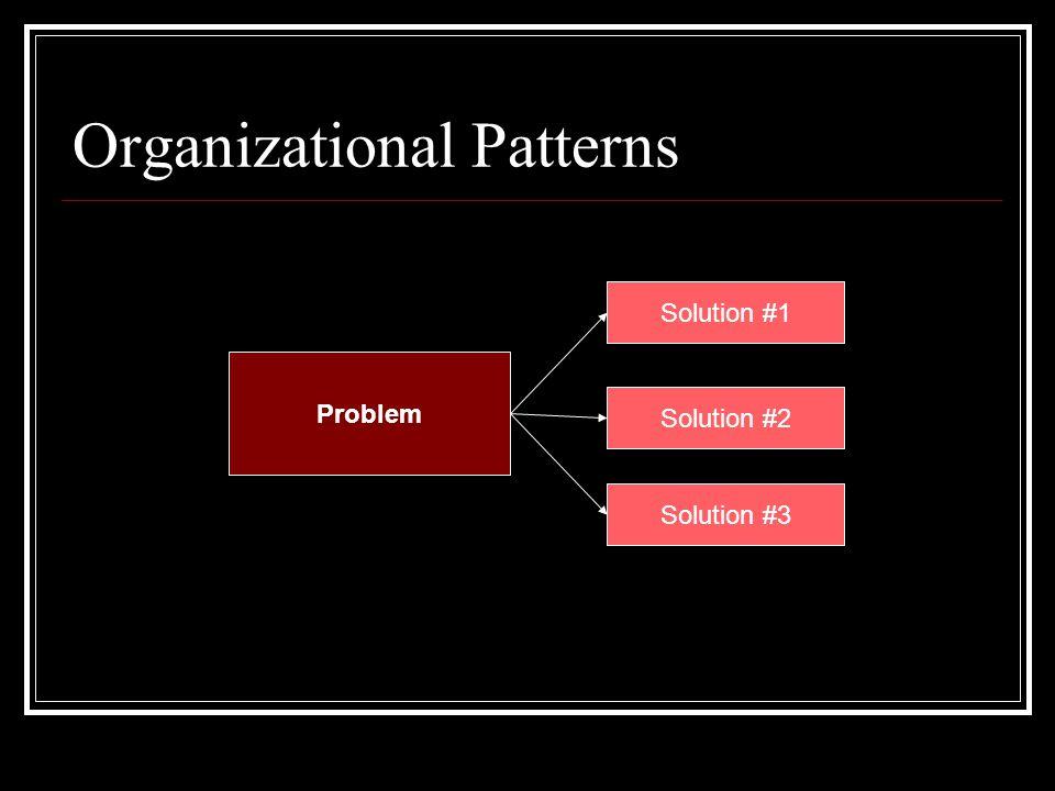 Organizational Patterns Problem Solution #1 Solution #2 Solution #3