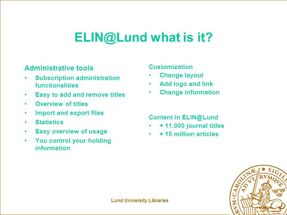 ELIN@ administrative tool