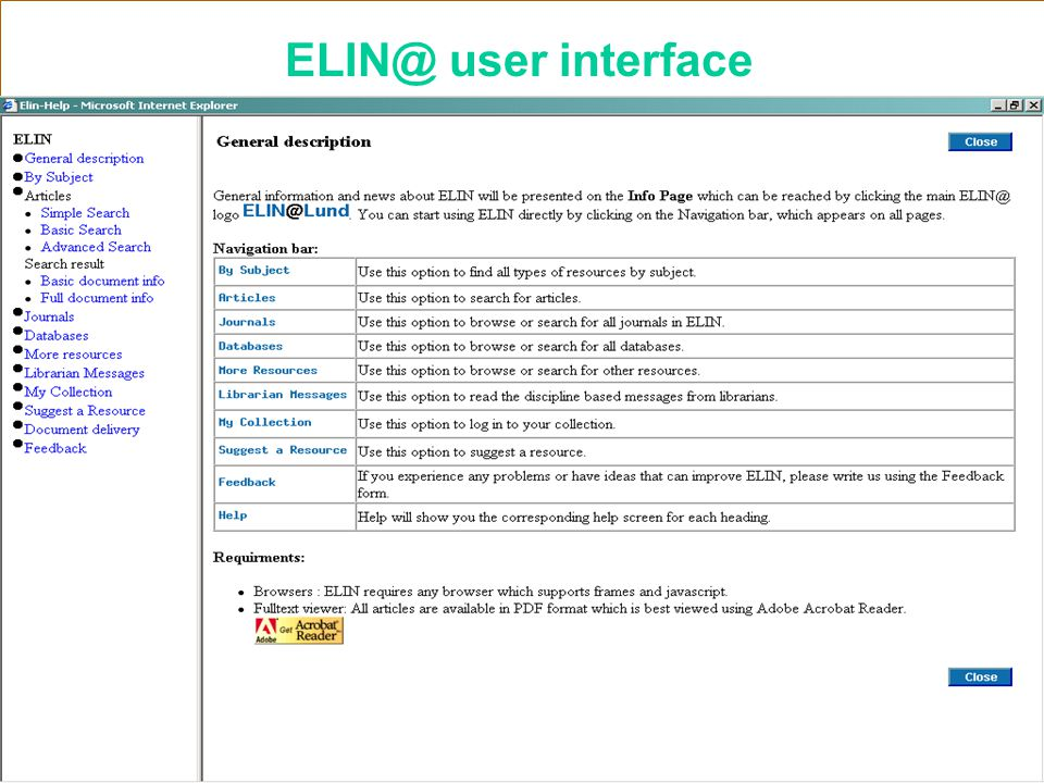 Lund University Libraries ELIN@ user interface