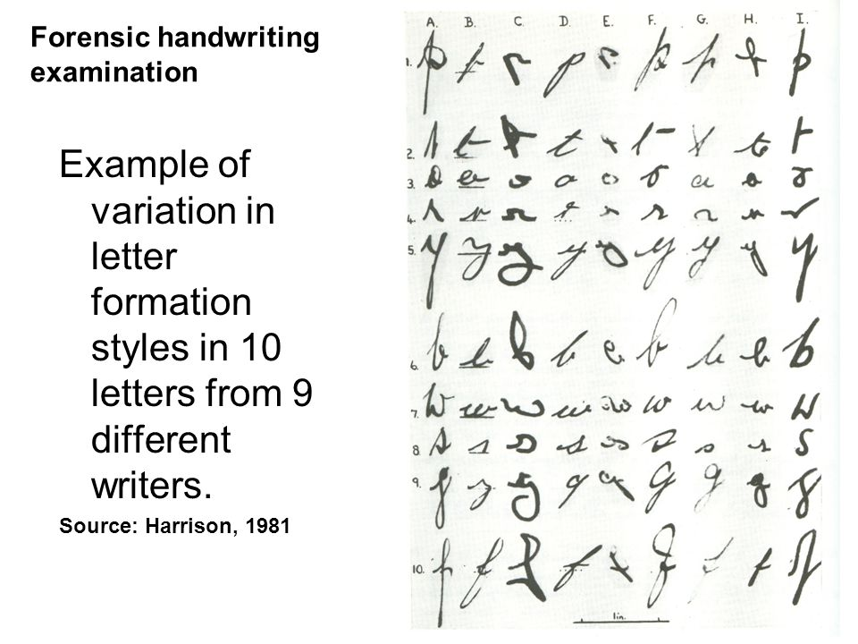 5 Example of variation in letter formation styles in 10 letters from 9 different writers. Source: Harrison, 1981 Forensic handwriting examination