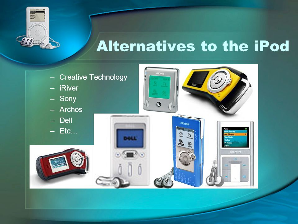 Alternatives to the iPod –Creative Technology –iRiver –Sony –Archos –Dell –Etc…