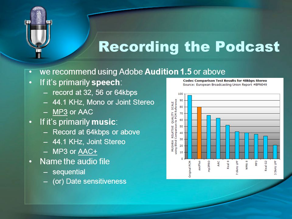 Recording the Podcast we recommend using Adobe Audition 1.5 or above If it's primarily speech: –record at 32, 56 or 64kbps –44.1 KHz, Mono or Joint Stereo –MP3 or AAC If it's primarily music: –Record at 64kbps or above –44.1 KHz, Joint Stereo –MP3 or AAC+ Name the audio file –sequential –(or) Date sensitiveness