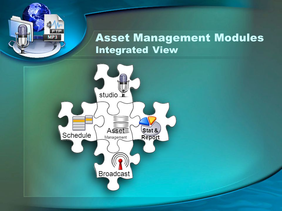 Asset Management Modules Integrated View studio Stat & Report Broadcast Schedule Asset Management