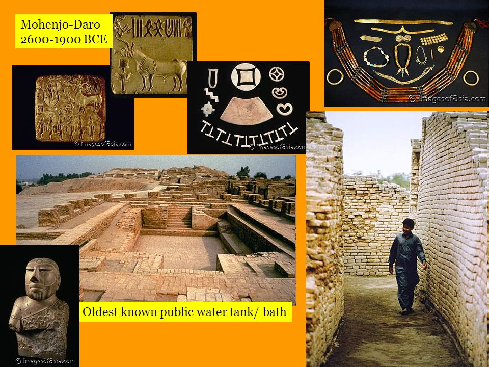 Public well Mohenjo-Daro 2600-1900 BCE (Rebuilt 6 times) Bathing platform: most homes had a bathing area and latrine Latrine: connected to elaborate public sewer system