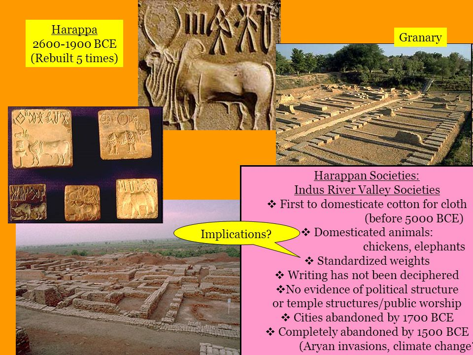 The Aryans Beginning 1000 BCE: Aryans noble people , (pastoral nomads, no written language, chiefdoms) arrived from the North Harappan culture was collapsing: this contact was most likely, initially, passive Later Aryan chiefdoms (raja) fought amongst themselves, iron tools, agriculture Eventually established regional kingdoms Discontent led to need to establish ORDER The Upanishads: Brahma Indra The Vedic Age: 1500-500 BCE