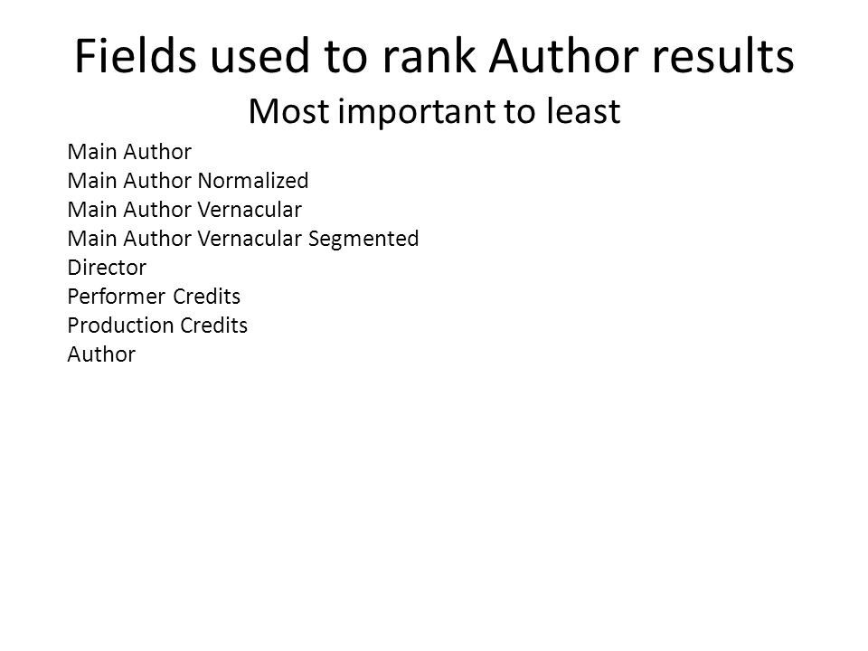 Fields used to rank Author results Most important to least Main Author Main Author Normalized Main Author Vernacular Main Author Vernacular Segmented Director Performer Credits Production Credits Author