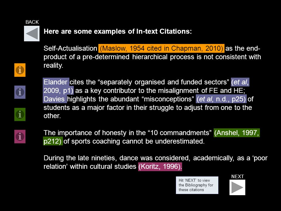 NEXT BACK Hit 'NEXT' to view the Bibliography for these citations Here are some examples of In-text Citations: Self-Actualisation (Maslow, 1954 cited in Chapman, 2010) as the end- product of a pre-determined hierarchical process is not consistent with reality.