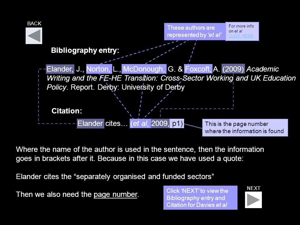 Elander cites… (et al, 2009, p1) This is the page number where the information is found BACK Bibliography entry: These authors are represented by 'et al' Elander, J., Norton, L., McDonough, G.