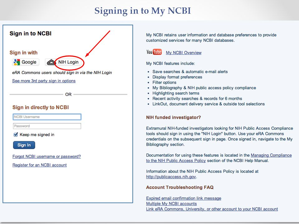 13 Signing in to My NCBI