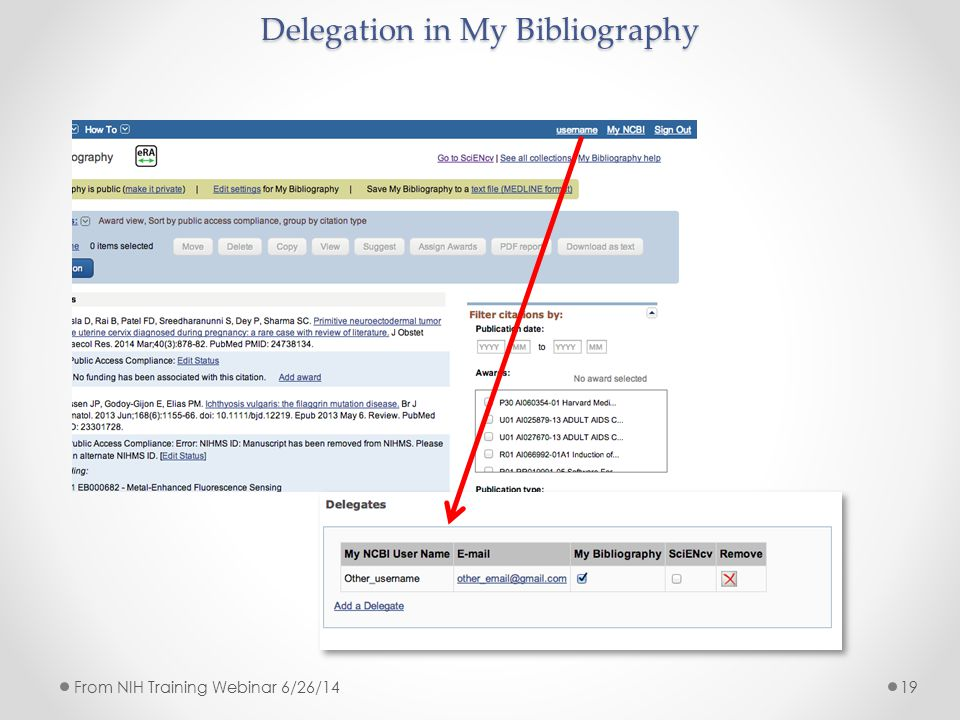 Delegation in My Bibliography 19From NIH Training Webinar 6/26/14