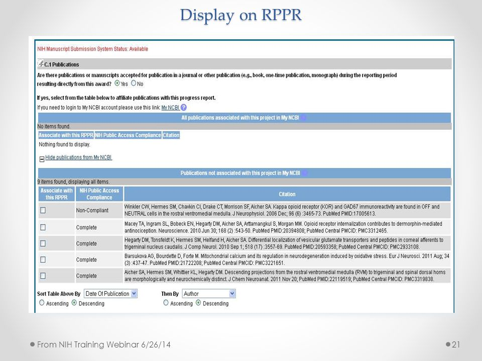 Display on RPPR 21From NIH Training Webinar 6/26/14