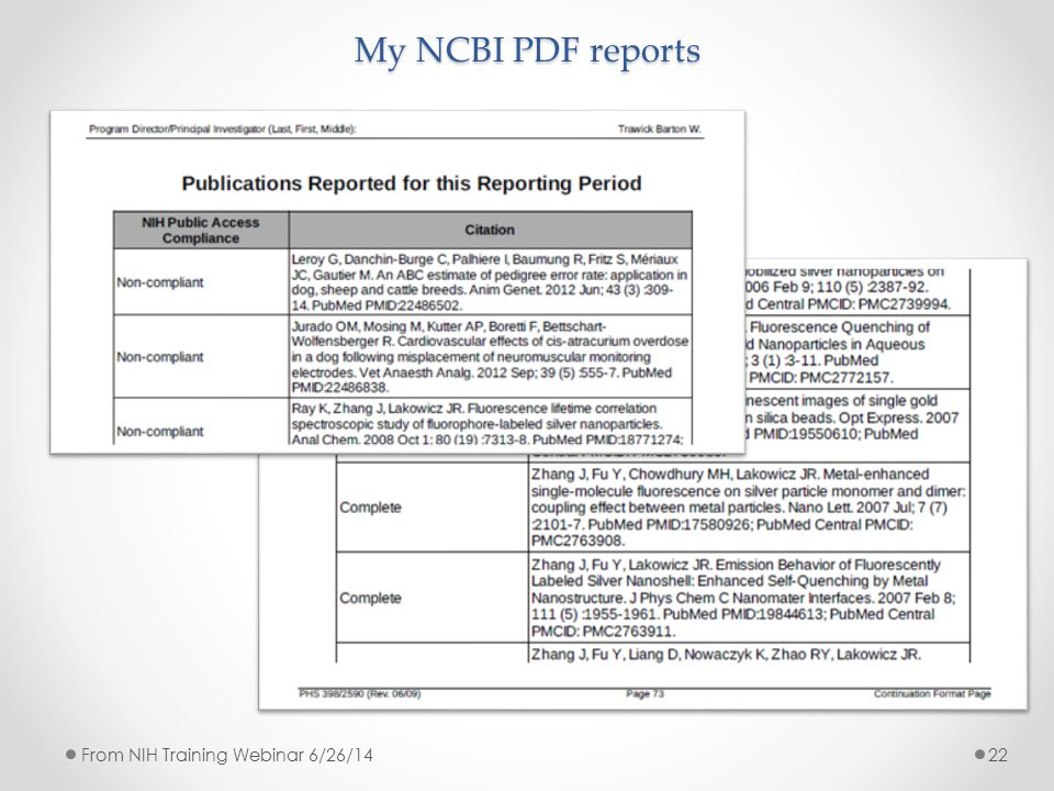 My NCBI PDF reports 22From NIH Training Webinar 6/26/14