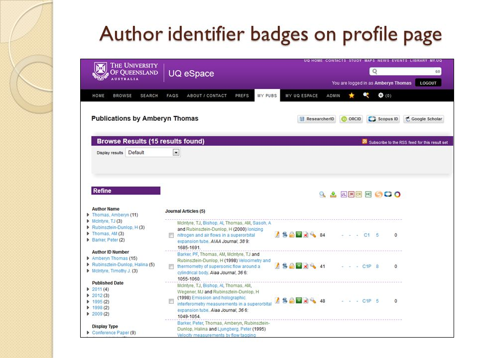 Author identifier badges on profile page