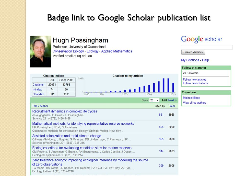 Badge link to Google Scholar publication list