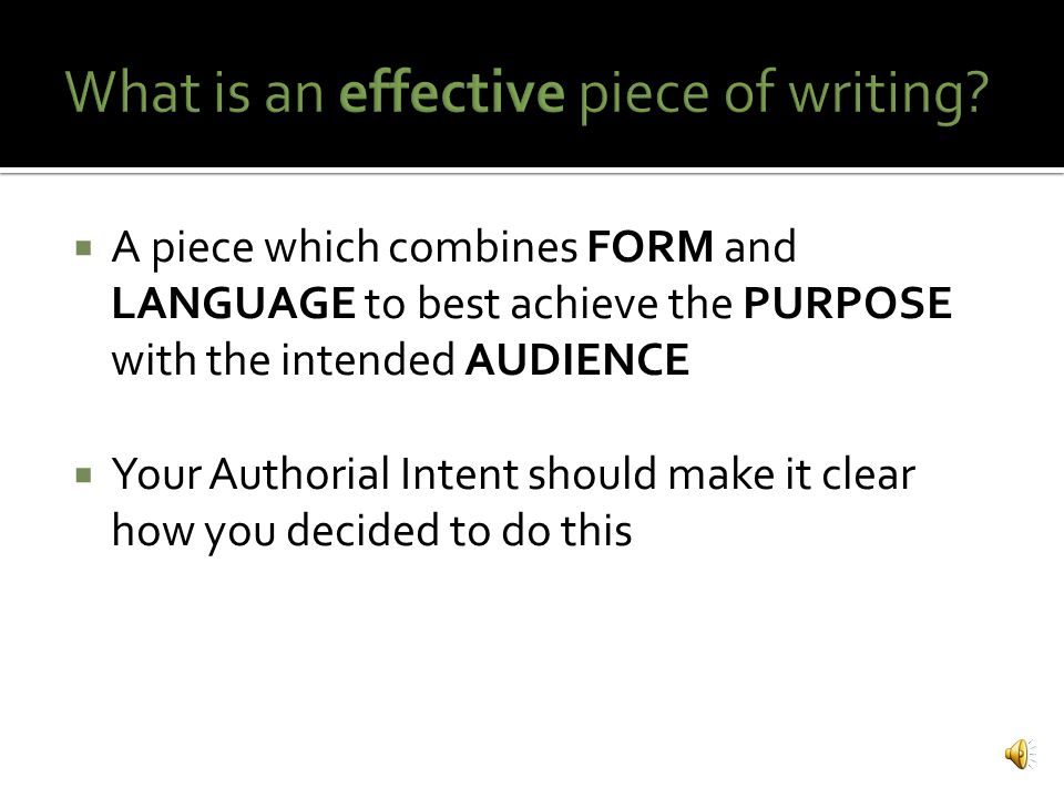 A sophisticated, formally written, coherent piece of writing that articulates the reasoning behind the choices/decisions you made as the author of your Context piece  Supports your Context response It should answer the question: How did you go about putting together an effective piece of writing?