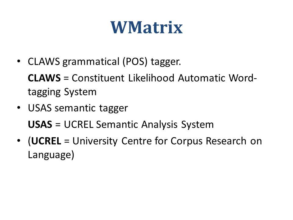 WMatrix CLAWS grammatical (POS) tagger.