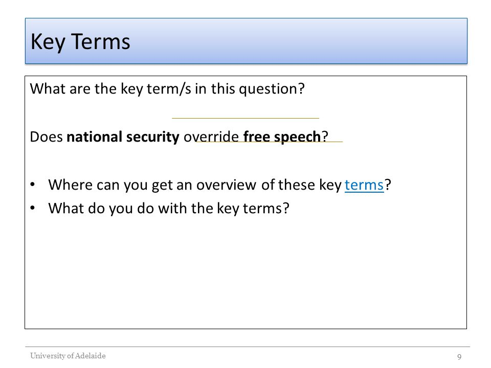 Key Terms What are the key term/s in this question? Does national security override free speech? Where can you get an overview of these key terms?term