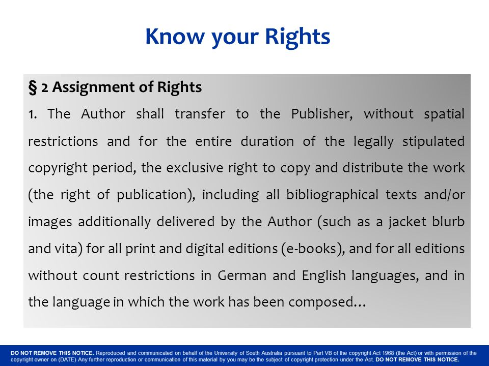 Know your Rights § 2 Assignment of Rights 1.