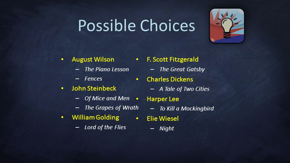Possible Choices August Wilson – The Piano Lesson – Fences John Steinbeck – Of Mice and Men – The Grapes of Wrath William Golding – Lord of the Flies F.