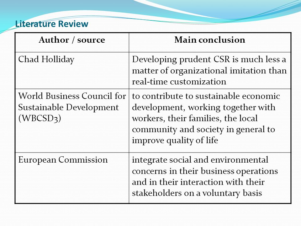 Literature Review Author / sourceMain conclusion Chad HollidayDeveloping prudent CSR is much less a matter of organizational imitation than real-time customization World Business Council for Sustainable Development (WBCSD3) to contribute to sustainable economic development, working together with workers, their families, the local community and society in general to improve quality of life European Commissionintegrate social and environmental concerns in their business operations and in their interaction with their stakeholders on a voluntary basis