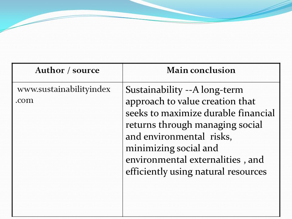 Author / sourceMain conclusion www.sustainabilityindex.com Sustainability --A long-term approach to value creation that seeks to maximize durable financial returns through managing social and environmental risks, minimizing social and environmental externalities, and efficiently using natural resources