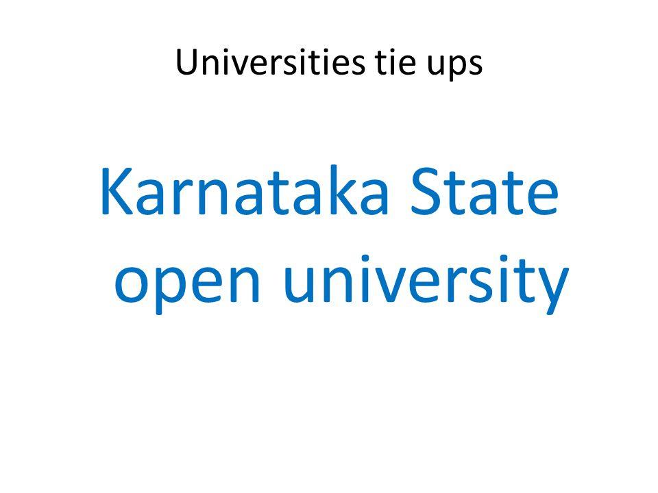 Universities tie ups Karnataka State open university