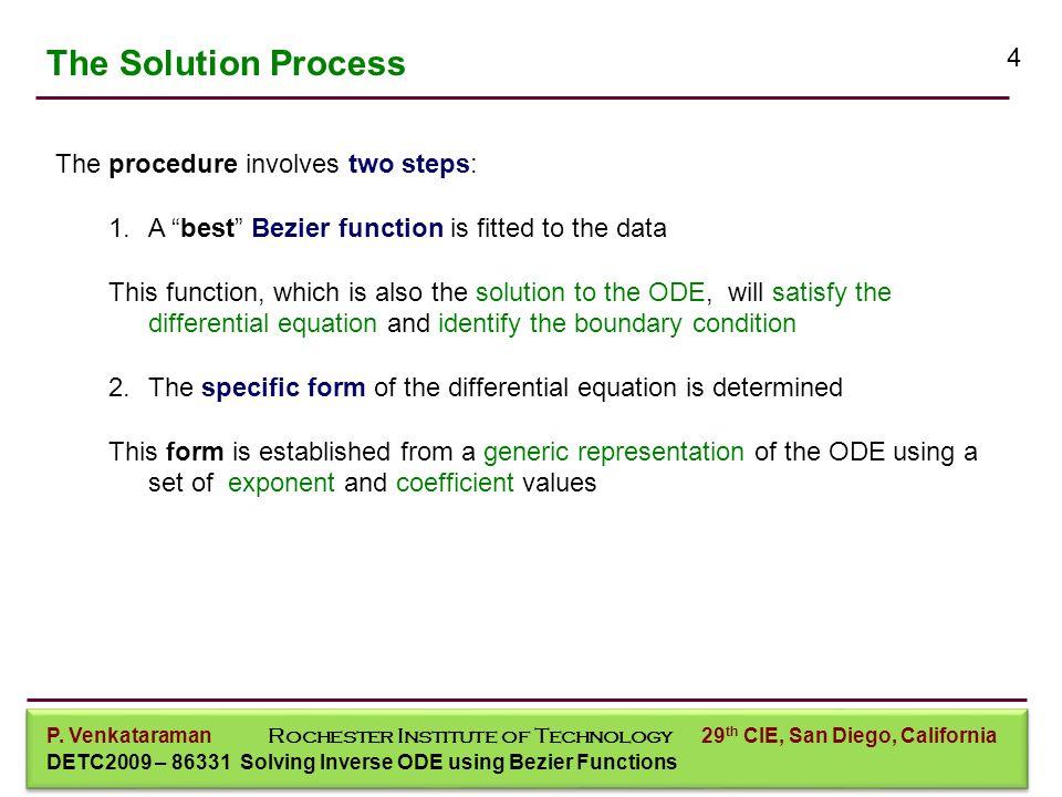 P. Venkataraman Mechanical Engineering P. Venkataraman Rochester Institute of Technology DETC2009 – 86331 Solving Inverse ODE using Bezier Functions 2