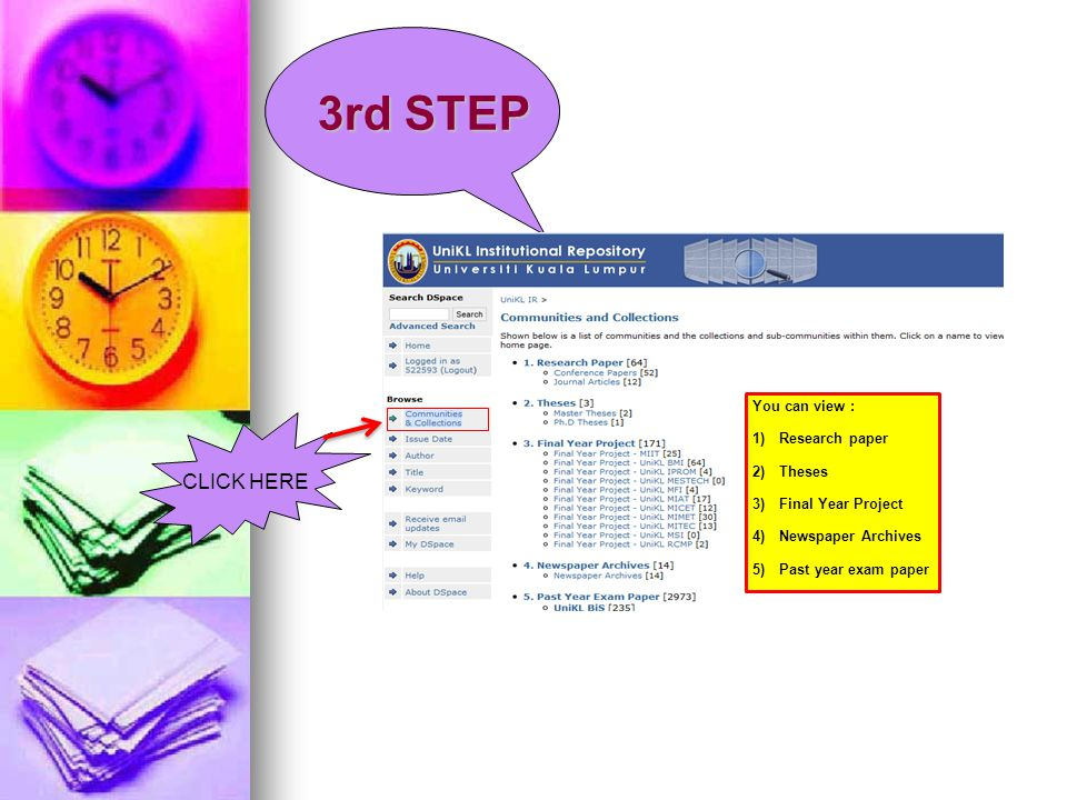 3rd STEP CLICK HERE You can view : 1)Research paper 2)Theses 3)Final Year Project 4)Newspaper Archives 5)Past year exam paper