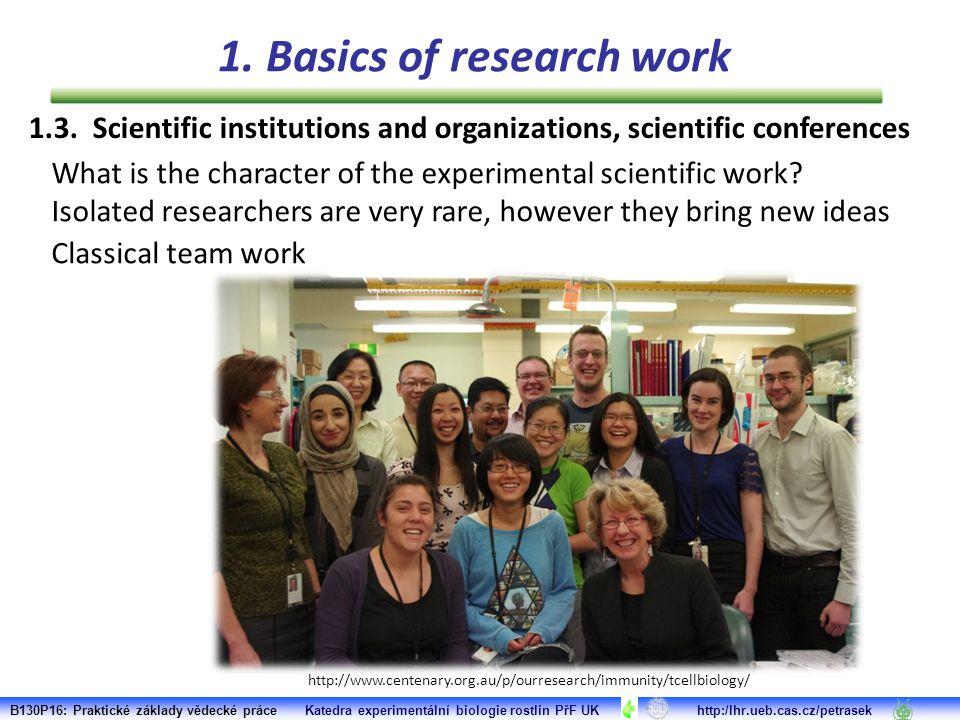 1.3. Scientific institutions and organizations, scientific conferences B130P16: Praktické základy vědecké práce Katedra experimentální biologie rostli