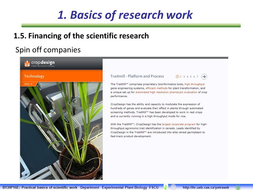 B130P16E: Practical basics of scientific work Department Experimental Plant Biology FSCU http:/lhr.ueb.cas.cz/petrasek 1. Basics of research work Spin